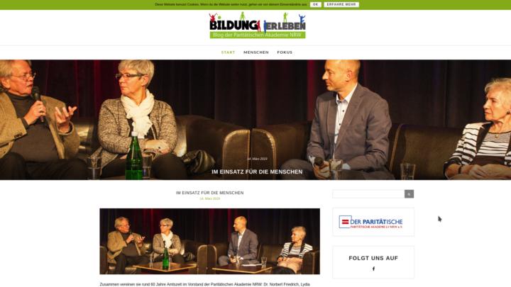 Screenshot der Site blog.paritaetische-akademie-nrw.de