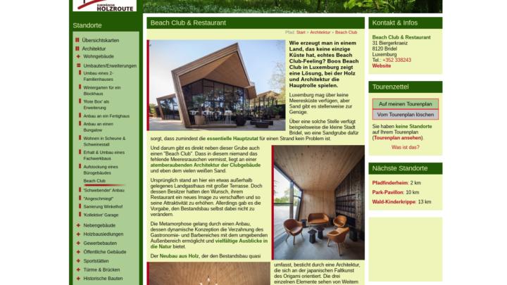 Screenshot der Website Holzroute.de