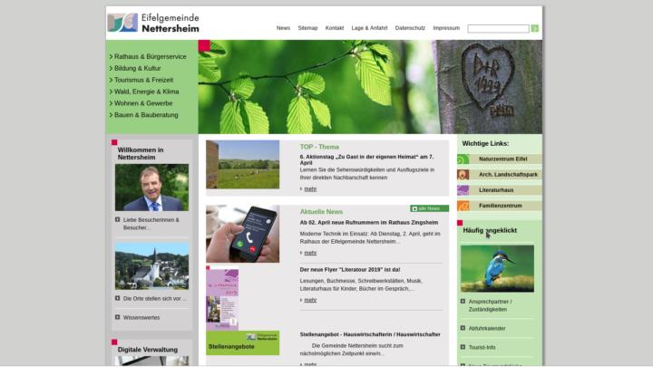 Screenshot der Site Nettersheim.de